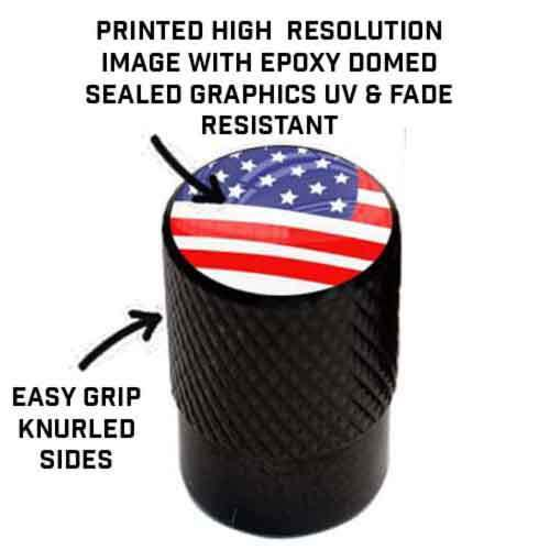 4 Vivid Black Billet Knurled Tire Air Valve Stem Caps PUNISH SKULL BLACK WHITE