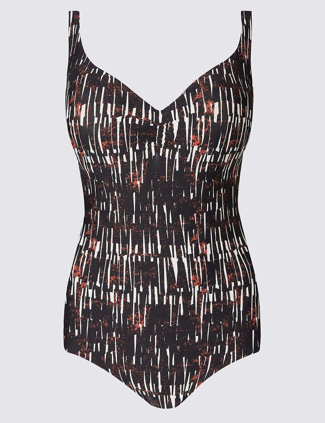 M&s Black Print Plunge Swimsuit Swimming Costume Secret Slimming 34dd 34 DD