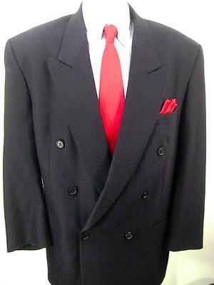 Mens Daniel Hechter Double Breasted Wool Striped Sport Coat Blazer Jacket 46L