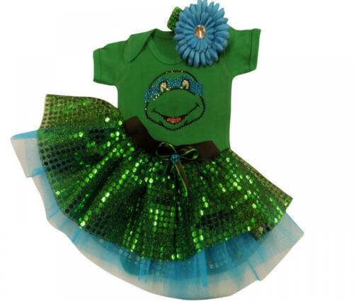 Tutu Skirt Rhinestone Ninja Turtles Top Mutant Set Baby Toddler Fancy Dress Cake