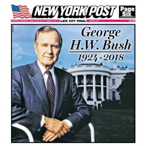 BUSH  12//1//18 NEW YORK POST NEWSPAPER GEORGE H.W