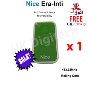 UK Stock Green NICE Era-Inti 2 Button Gate and Barrier Remote Control