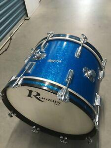SUPER-CLEAN-67-039-ROGERS-14X20-BLUE-SPARKLE-BASS-DRUM-NR-MNT