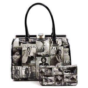 Image Is Loading Michelle Magazine Purse Handbag Wallet Set Black