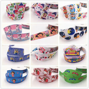 Free-5-Yard-1-039-039-25MM-Cartoon-princess-Printed-Grosgrain-Hair-Bow-Sewing-Ribbon