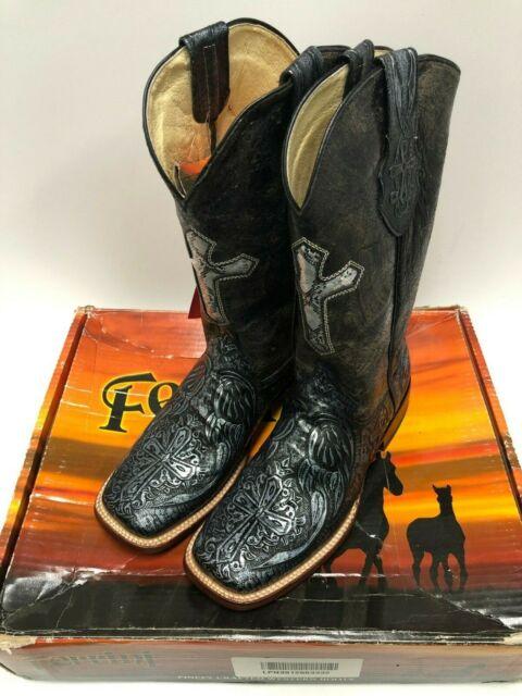 e58cc411dfd Womens Ferrini Black Silver Embossed Cross Leather Western S Toe BOOTS 10 B