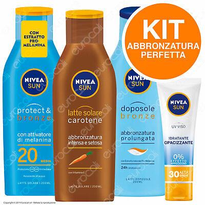 NIVEA KIT Abbronzatura Perfetta Latte Solare Dopo Sole Protezione Viso Idratante