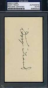 Dizzy Trout Psa/dna Certified 3x5 Index Card Signed Authentic Autograph