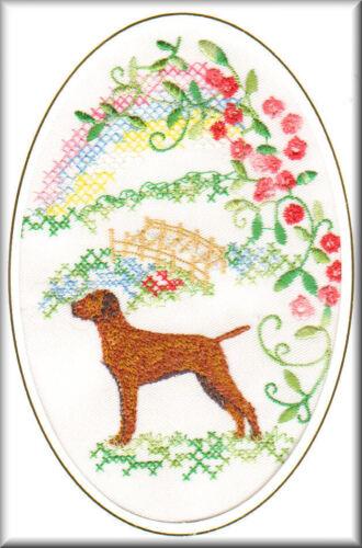 Hungarian Vizsla Rainbow Bridge Card Embroidered by Dogmania