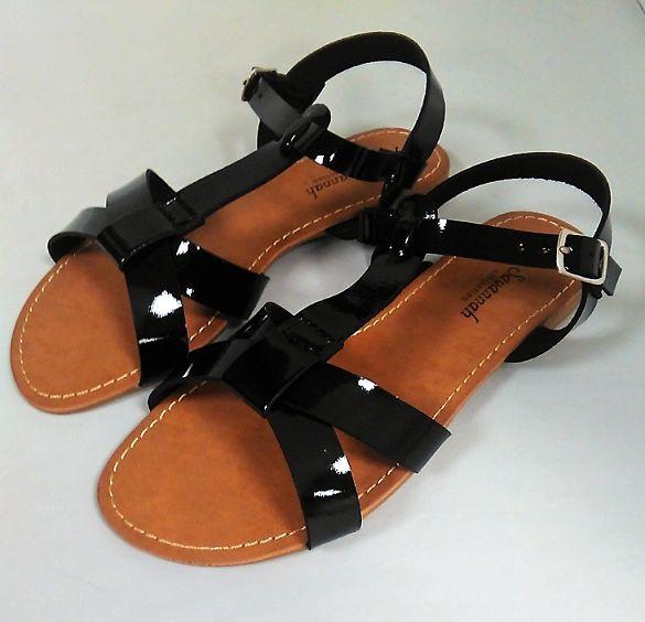 Ladies Size 3 Open Savannah Spot On Black Open 3 Toe Gladiator Summer Sandals Flat Shoe 4b97c2