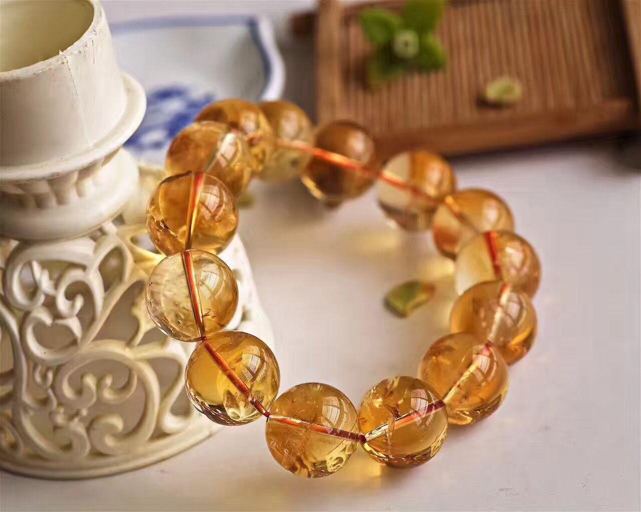 16mm Natural Yellow Citrine Quartz Crystal Round Beads Bracelet