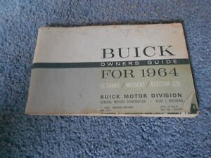 vintage 1964 buick owners manual guide lesabre electra 225 wildcat rh ebay com buick encore owner's manual buick enclave owner's manual