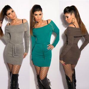Women/'s knitted long sleeve Bodycon mini Dress Jumper Long pullover Grey UK 8//10