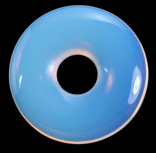 Opalglas blau Donut Anhänger Edelstein 30 mm Scheibenstein Pi Stein Heilstein