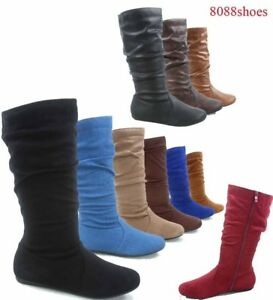 Women-039-s-Fashion-Causal-Zipper-Round-Toe-Slouchy-Flat-Mid-Calf-Boot-Shoes-NEW