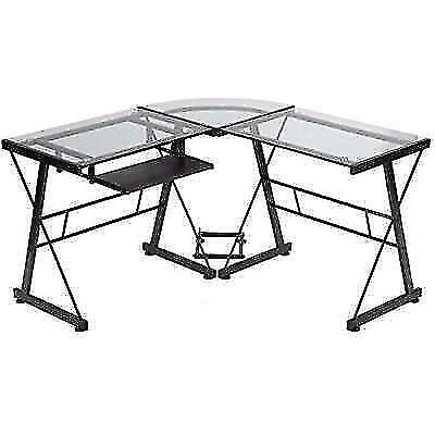 Clear Fdw L Shaped Glass Corner Desk, L Shaped Desk Office Computer Glass Corner With Keyboard Tray Instructions