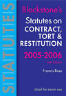 Statutes on Contract, Tort and Restitution: 2005-2006 by Oxford University Press (Paperback, 2005)