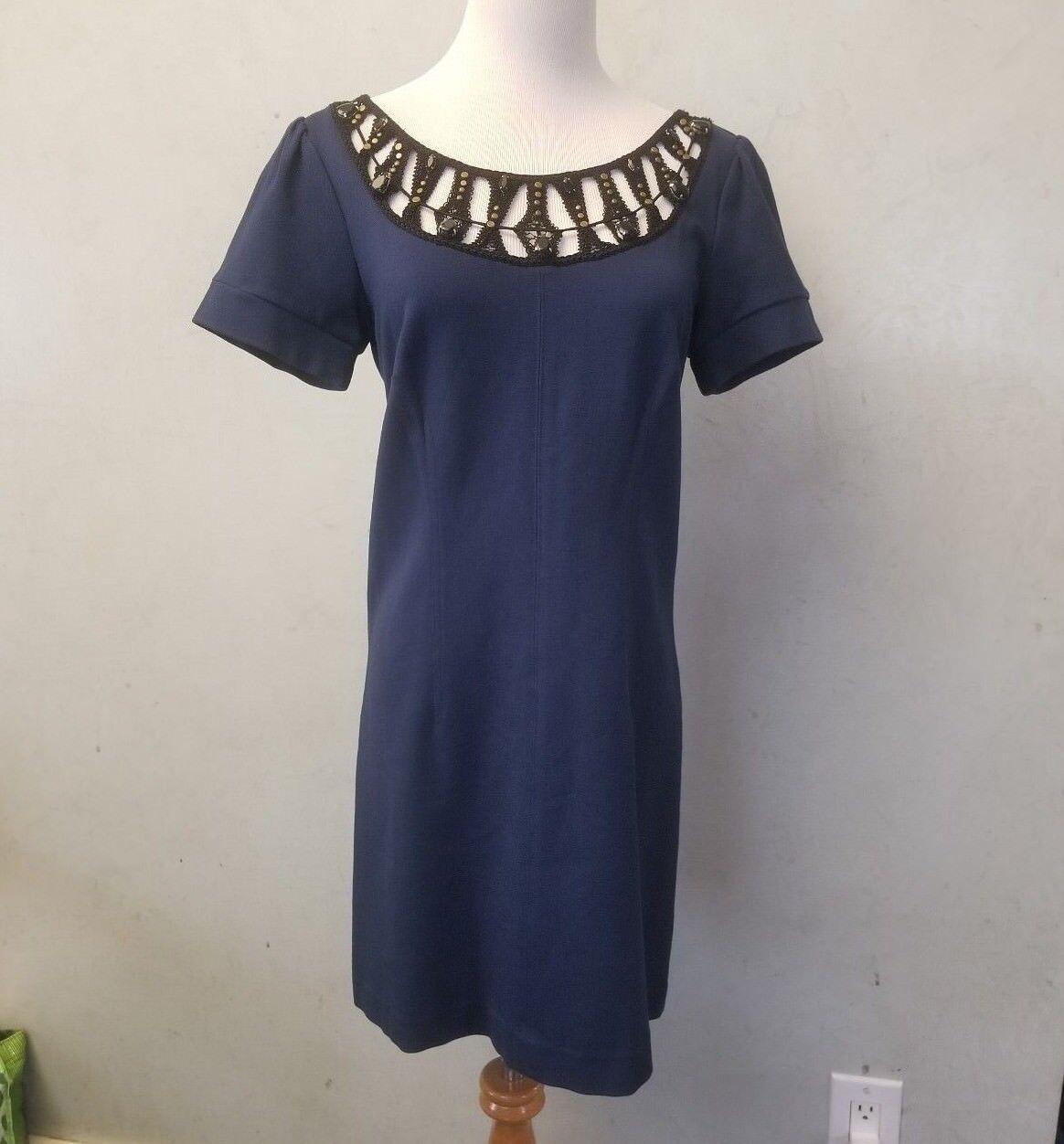 259 Laundry Shelli Segal short sleeve beaded embroidery dress (B 92-8)