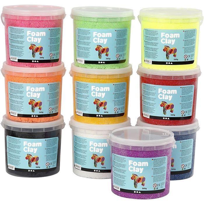 NEU Foam Clay®, 10x560 g, sortierte Farben  | Lebensecht