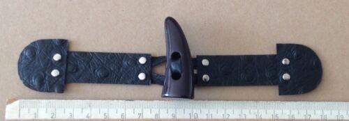 Negro Grande Botón de alternar Duffle Coat Sujetador 4 XBlack avestruz de cuero en relieve