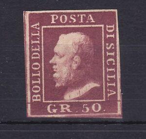 ROW143-Italian-States-Sicily-1859-King-Ferdinand-II-50gr-brown-imperf