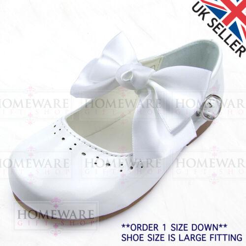 GIRLS SPANISH STYLE BOW SHOES MARY JANE PATENT PINK WHITE IVORY NAVY CAMEL UK4-2