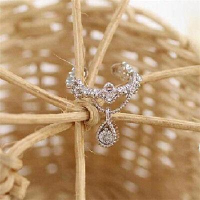 Women Ear Cuff Wrap Rhinestone Crystal Clip On Earring Jewelry Silver