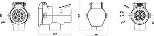 Anhängerkupplung/_Adapter/_7//13-polig/_Anhänger/_Kipper/_KFZ/_Anhängeradapter
