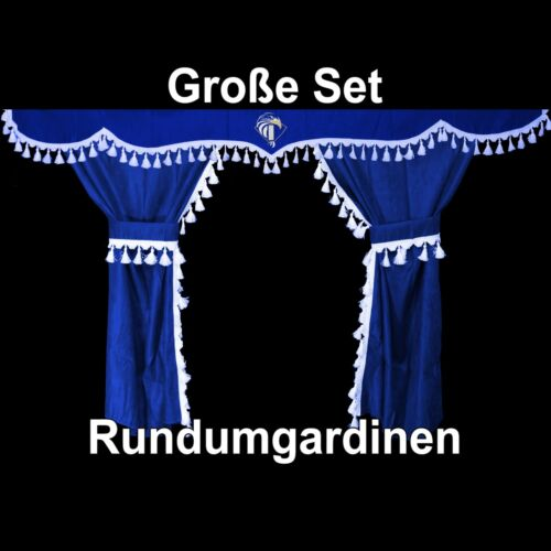Iveco Stralis Trakker Hi-way Passform Gardinen Fenstergardinen Blau Weiß 6 Teile