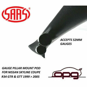 SAAS Gauge Pillar Pod for Nissan R34 Skyline GTR / GTT 52mm Gauges Paintable