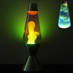Details About Lava Lamp Original Liquid Motion Night Light Silver Base Yellow Wax Blue Liquid