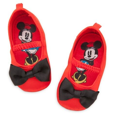 Disney Store Minnie Mouse Baby Costume Shoes w// Bow Tie Size 0 6 Months