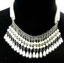 LADIES  STUNNING MULTI LAYERED DROP  PEARL STATEMENT NECKLACE UNIQUE NEW (ST79)