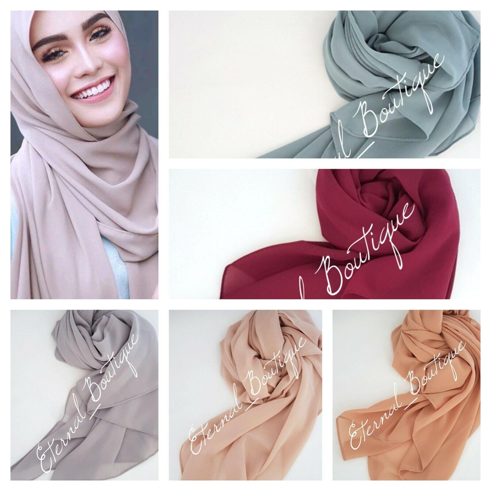 Chiffon Scarf Hijab High Quality Elegant Sarong Shawl Wrap Plain Maxi Soft