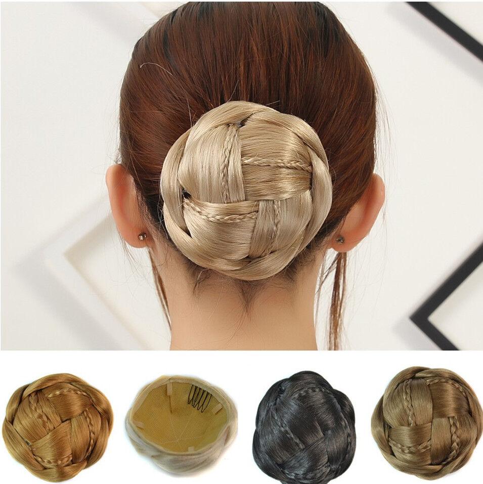 Women Clip In Hair Bun Extension Buns Chignon Hairpiece Contract Tail Scrunchie