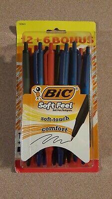 Black Ink 18 Pens BIC® Soft Feel Retractable Ballpoint Pens Med 1.0 mm