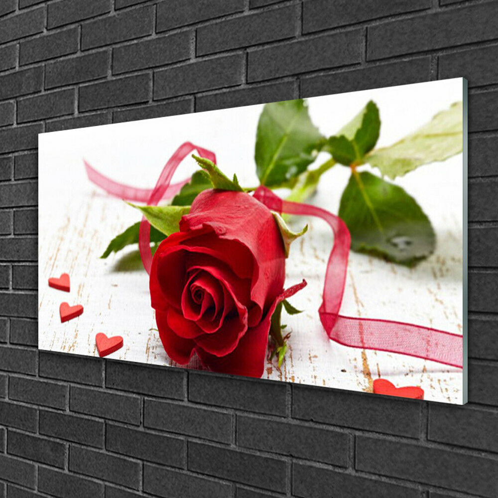 Print on Glass Wall art 100x50 Picture Picture Picture Image Rosa Floral bb604d