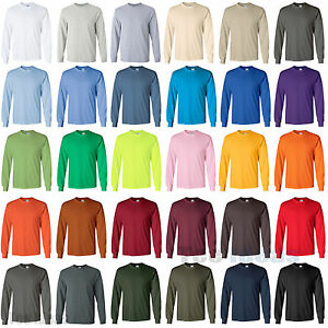 Gildan Ultra Cotton Long Sleeve T-Shirt Cotton Tee Size S-5XL 2400 ...