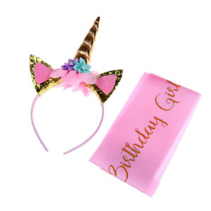 Unicorn Birthday Girl Set of Gold Glitter Unicorn Headband