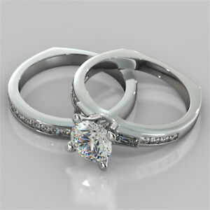 1.85 Ct Round Real Moissanite Band Set 14K Solid White Gold Wedding Ring Size 7