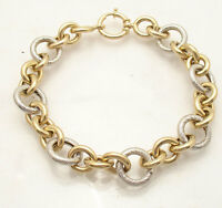Qvc Bold Textured Rolo Circle Bracelet Real 14k Yellow White Gold Free Shipping