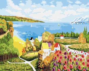 Beautiful Village Scenery Flowers Little Houses Needlepoint Canvas E