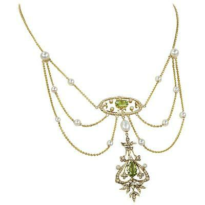 Antique Victorian Peridot Pearl Gold Swag Necklace