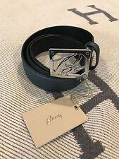 RARE BRIONI Dark Turquoise Leather B Logo Belt - Size: 85/100-NEW