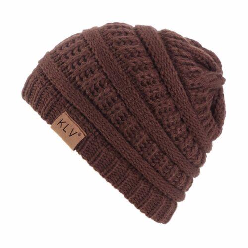 Garçon Fille Hiver Crochet Hiver Laine tricot Ski Beanie Baggy Crâne Souple Caps Hat