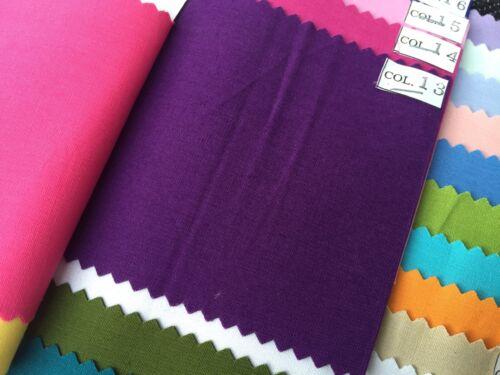 Sólido vestido de color liso Craft 100/% Algodón Popelín Tela Verano M22 mTEX