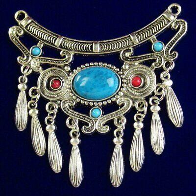Tibetan Silver Inlaid Blue Turquoise Tassels Pendant 64x52x6mm 14g A-912PJ