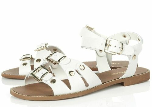New Sandals Strappy Leather White Topshop Roman Buckle Shoes Flat Genuine xRfqnO4w6