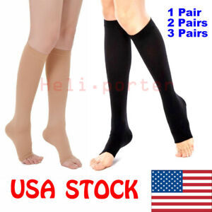 OPEN-TOE-Compression-Socks-Support-Stockings-Men-Women-S-XXL-1-2-3-Pairs