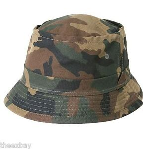 433877dd76c CAMOUFLAGE FISHERMAN S BUCKET ARMY GREEN FOREST CAMO HAT CAPS SIZE S ...